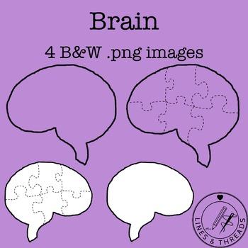 Brain Outline and Puzzle Clip Art Set