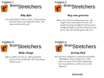 Brain Stretcher Decimal Operation Word Problems