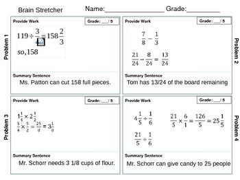 Brain Stretcher Fraction Operation Word Problems