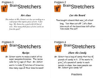 Brain Stretcher Fraction Operation Word Problems