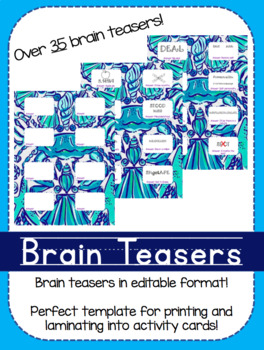 Brain Teaser Activity Cards!