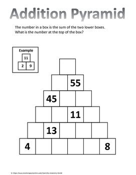 Math Brain Teaser: Addition Pyramid