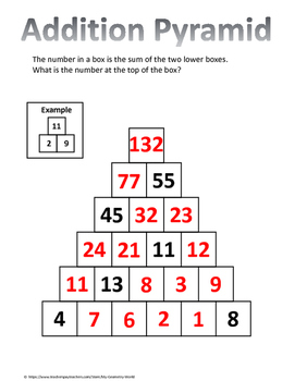 Math Brain Teaser: Addition Pyramid