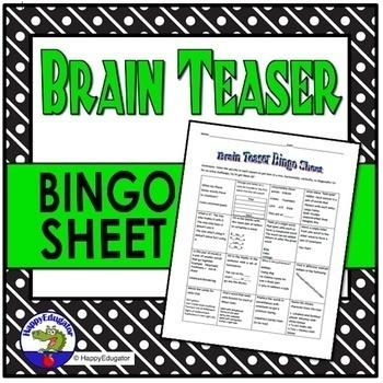 Brain Teaser Bingo Sheet