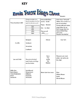 Brain Teasers Bingo Sheet