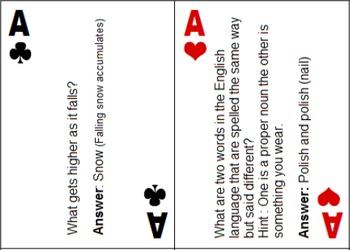 Brain Teaser Playing Cards