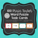 Brain Teaser Word Puzzles Task Cards