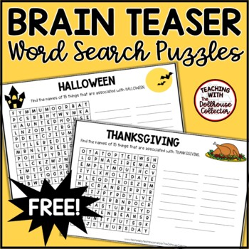 Brain Teaser Word Search Puzzles Without Word Lists! HALLOWEEN & THANKSGIVING