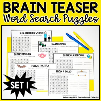 Brain Teaser Word Search Puzzles - Themed Puzzles WITHOUT Word Lists! {SET 1}