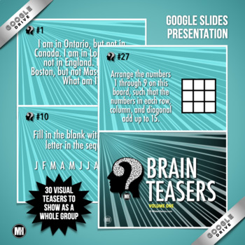 BRAIN TEASERS: Bellringers, Brain Breaks, Back to School Activities - Vol. 1
