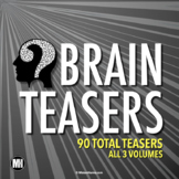Distance Learning   Brain Teasers Bundle: 90 Logic Puzzles, Riddles, & More!