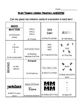 Brain Teasers - Hidden Meanings 3 sheets by Al Y | TpT