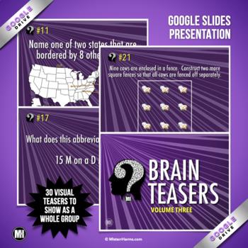 BRAIN TEASERS: Logic Puzzles, Brain Breaks, & Riddles - Volume 3