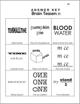 Brain Teasers Rebus Puzzles Games Easy By Mirin Store Tpt