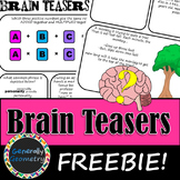 Brain Teasers FREEBIE; Riddles, Brain Breaks, Logic Puzzles and More!