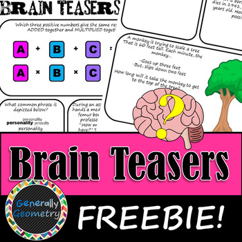 Brain Teasers Set #13; Riddles, Logic and More!