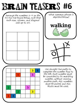 Brain Teasers Set #6; Riddles, Logic Puzzles and More!