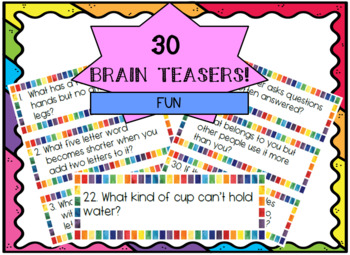 #luckydeals Brain Teasers Task Cards! Fun!