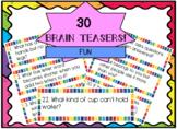 Brain Teasers Task Cards! Fun!