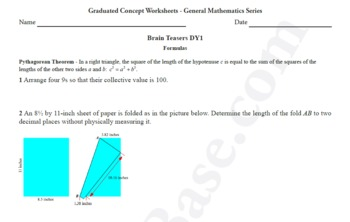 Brain Teasers Worksheet DY1 - Math probs & puzzles (Dare You!)