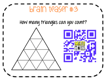 1st and 2nd Grade Math Brain Teasers to Engage your Learners with QR Codes!