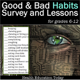 """Habits Lesson for Teen Health: """"Bad Habits Survey"""" and Goal-Setting!"""