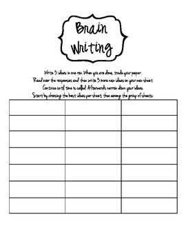 Brain Writing Sheet
