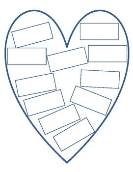 Brainstorm Writing Topics: Heart Printable