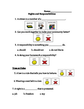 Brain pop Junior: Rights and Responsibilities Questions