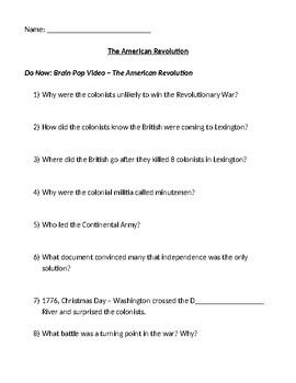 Brainpop American Revolution Viewing Guide