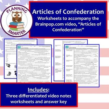 Brainpop Articles of Confederation wksht - differentiated (3 unique products)
