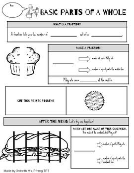 Brainpop Basic Parts of a Whole Fraction Notesheet