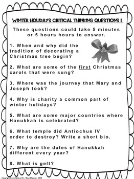 Brainpop Jr. WINTER HOLIDAYS Video Review and Critical Thinking Qs (2nd Edition)