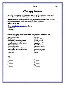 Brainpop Review Activity
