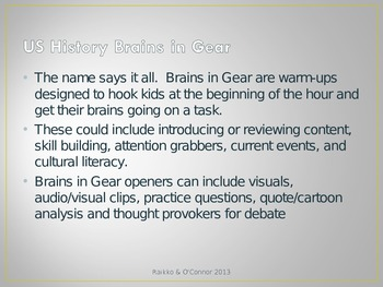 Brains in Gear Warm Ups For US History