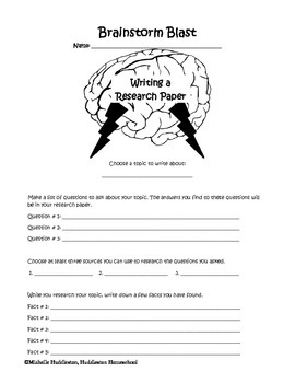 Brainstorm Blast - Writing a Research Paper