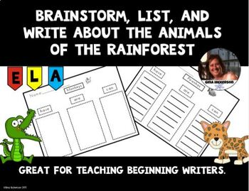 Brainstorm, List, and Write About the Animals of the Rain Forest.