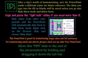 Brainstorm PowerPoint - Gather Ideas - Sentences and Longer Ideas