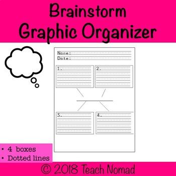 Brainstorm Web Graphic Organizer- 4 Boxes