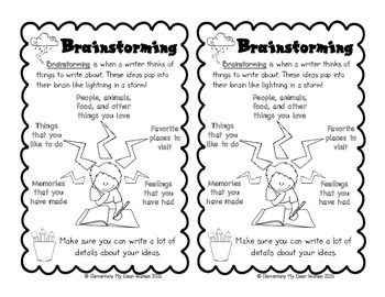 Brainstorming Anchor Chart and Interactive Notebook Pages