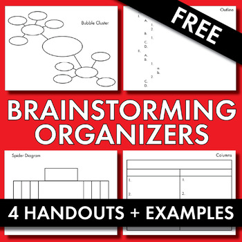 Brainstorming Organizers, FREE Handouts & Examples to Help Teen Writers, CCSS
