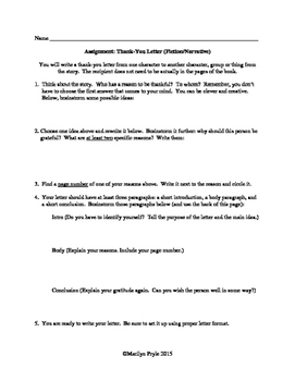 Brainstorming Sheets for Character or Speaker Thank-You Letters