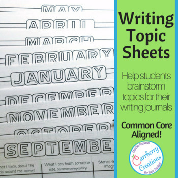 Brainstorming Writing Topics Sheets CCSS Aligned
