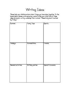 Brainstorming Writing Topics - Student/Parent