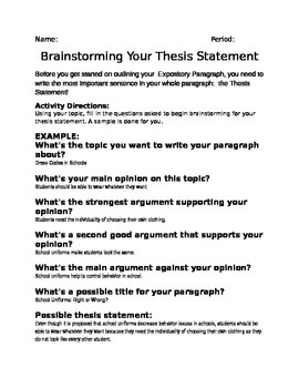 Brainstorming a Thesis Statement