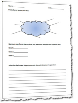Brainstorming and Narrowed Focus Writing Graphic Organizer Template