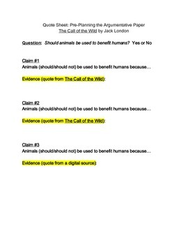 Brainstorming for Argumentative Paper (The Call of the Wild)
