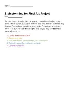 Brainstorming for Final Artwork