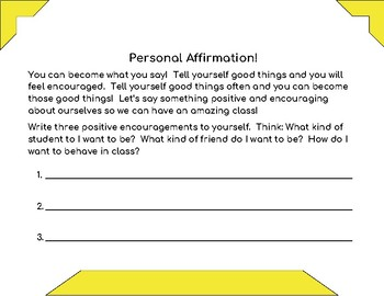 Brainy Activity-Positive Affirmations to Transform your Class!