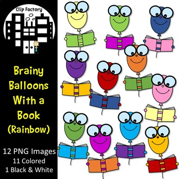Brainy Balloons with a Book Clip Art